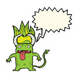 Cartoon little devil with speech bubble Stock Images