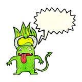 Cartoon little devil with speech bubble Royalty Free Stock Photos