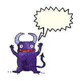 Cartoon little devil with speech bubble Royalty Free Stock Images