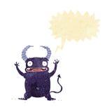 Cartoon little devil with speech bubble Royalty Free Stock Photo