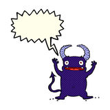 Cartoon little devil with speech bubble Royalty Free Stock Image