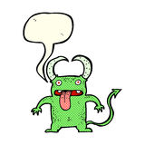 Cartoon little devil with speech bubble Royalty Free Stock Photography