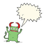 Cartoon little devil with speech bubble Stock Photography