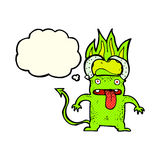 Cartoon little devil with thought bubble Stock Image