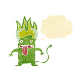 Cartoon little devil with thought bubble Royalty Free Stock Photos