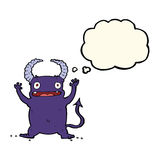 Cartoon little devil with thought bubble Royalty Free Stock Photo