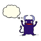 Cartoon little devil with thought bubble Stock Images