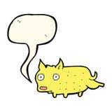 Cartoon little dog cocking leg with speech bubble Stock Image