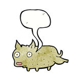 Cartoon little dog cocking leg with speech bubble Royalty Free Stock Photography