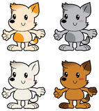 Cartoon little dogs different colors Stock Photo
