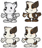 Cartoon little dogs different colors Royalty Free Stock Photo