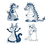 Cartoon little dragon set Stock Image