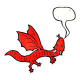 Cartoon little dragon with speech bubble Royalty Free Stock Image