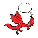 Cartoon little dragon with thought bubble Stock Photo