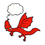 Cartoon little dragon with thought bubble Royalty Free Stock Photo