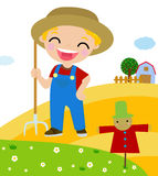 Cartoon little farmer Royalty Free Stock Photos