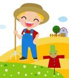 Cartoon little farmer Royalty Free Stock Photos