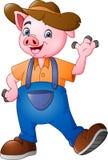 Cartoon little farmer pig waving hand. Illustration of Cartoon little farmer pig waving hand stock illustration