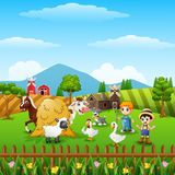 Cartoon little farmers with animals at the farm Stock Image