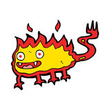 Cartoon little fire demon. Hand drawn cartoon illustration in retro style.  Vector available Stock Images