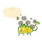 Cartoon little fire demon with speech bubble Royalty Free Stock Image