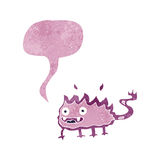 Cartoon little fire demon with speech bubble Royalty Free Stock Photography