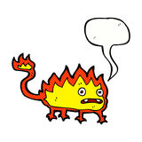 Cartoon little fire demon with speech bubble Royalty Free Stock Photos