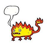 Cartoon little fire demon with speech bubble Stock Image