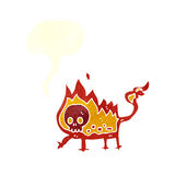 Cartoon little fire demon with speech bubble Stock Images