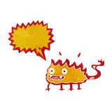 Cartoon little fire demon with speech bubble Royalty Free Stock Images