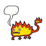 Cartoon little fire demon with speech bubble Stock Photo