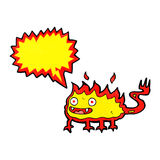 Cartoon little fire demon with speech bubble Royalty Free Stock Image