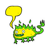 Cartoon little fire demon with speech bubble Royalty Free Stock Photos