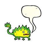 Cartoon little fire demon with speech bubble Stock Photos