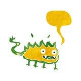 Cartoon little fire demon with speech bubble Stock Photography