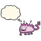 Cartoon little fire demon with thought bubble Stock Images