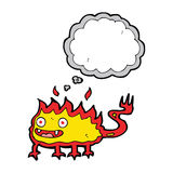 Cartoon little fire demon with thought bubble Royalty Free Stock Images