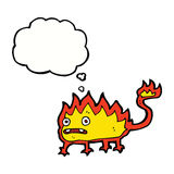 Cartoon little fire demon with thought bubble Stock Photography