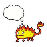 Cartoon little fire demon with thought bubble Stock Photos