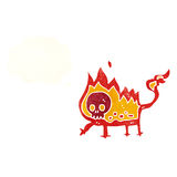 Cartoon little fire demon with thought bubble Stock Photo