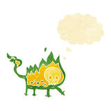 Cartoon little fire demon with thought bubble Royalty Free Stock Photography