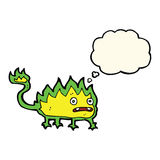 Cartoon little fire demon with thought bubble Royalty Free Stock Photo