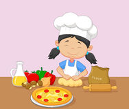 Cartoon little girl baking Royalty Free Stock Photos