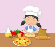 Cartoon little girl baking. Illustration of Cartoon little girl baking Royalty Free Stock Images