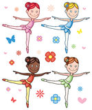 Cartoon Little Girl Ballerina Set Stock Photos