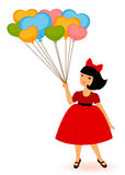 cartoon little girl with balloons Stock Photos