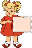 Cartoon little girl with banner Stock Images