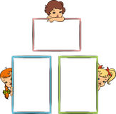 Cartoon little girl with banner Stock Image
