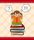 Cartoon little girl with book Stock Images