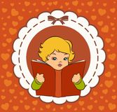 Cartoon little girl with book. Royalty Free Stock Photography